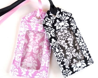 damask - luggage tag - destination wedding - save the date - place card holder - shower favors - gift card holder - party favors