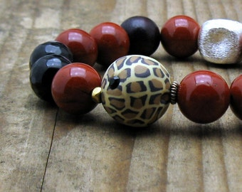 Red Jasper Animal Print Boho Beaded Bracelet, Rust Black Stretch Bracelet, For Her Under 150