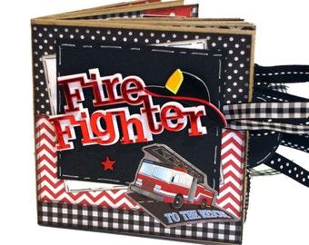 Fire Fighter Scrapbook - Photo Album -  Paper Bag Album