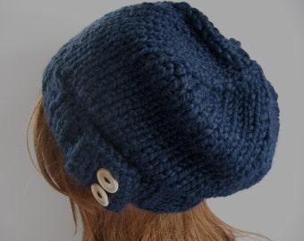 Slouchy Knit Hat, Knit Hat, Navy Blue Cloche Hat / KEYSTONE / Button Hat