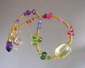 Gemstone Vermeil Bracelet, Stackable Beaded Bracelet, Lemon Quartz, Sapphire, Peridot, Delicate, Artist Made, Original Design, Signature