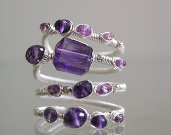 Amethyst Silver Ring, Lilac Sapphire Wraparound Ring,- Wire Wrapped Ring, Argentium, Violet, Artist Made, Original Design,  6.5