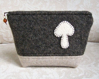 Mushroom Zip Pouch, Eco Friendly, Upcycled Sweater Wool Clutch