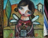 Original mixed media painting on  canvas tuscany landscape with flower girl (6x6 inch)