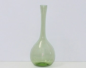 Gullaskruf Sweden Arthur Carlsson Percy Light Green Glass Long Neck Bottle Vase