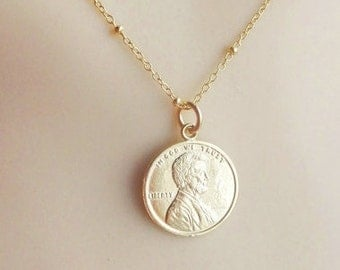 gold  Lucky Penny  necklace, gold plated over sterling silver necklace, gold vermeil necklace, gold coin necklace