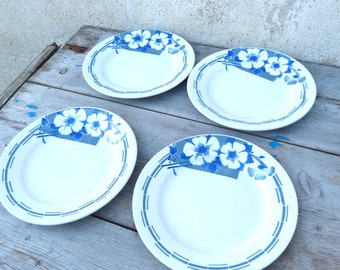 Vintage Antique old French 1930  blue and off white art deco pattern coutryside shabby chic set of 4 plates