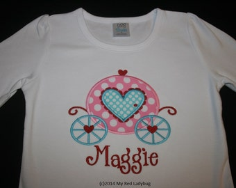 Valentines Princess Carriage Shirt Monogrammed