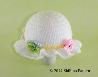 CROCHET PATTERN For Flower Easter Bonnet Hat Crochet Pattern in 5 Sizes, Preemie, Newborn, Toddler, Child  PDF 276e Digital Download