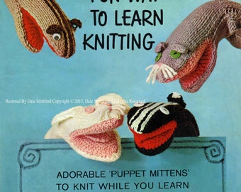 Vintage Glove Puppets (the book shows how to knit and make your own glove puppet's) Knitting Pattern, 1960 (PDF) Pattern, Newlands 17