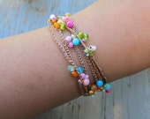 Flower burst  crocheted wrap bracelets, organic, earthy, comfortable