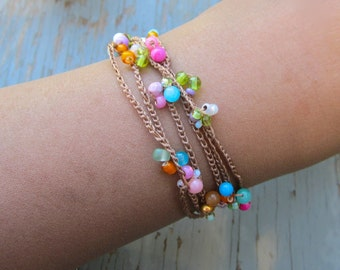 Flower burst  crocheted wrap bracelets, organic, earthy, comfortable