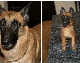 Needle Felted Dog / Custom Portrait Sculpture from your Pet Photo / Poseable / example Belgian Malinois