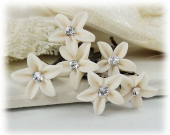 Small Jasmine Crystal Hair Pins - Tiny Crystal Wedding Hair Pins