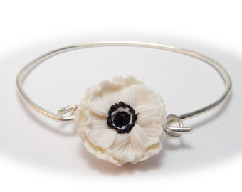 White Anemone Flower Bracelet Sterling Silver Bangle - Anemone Jewelry, Anemone Flowers