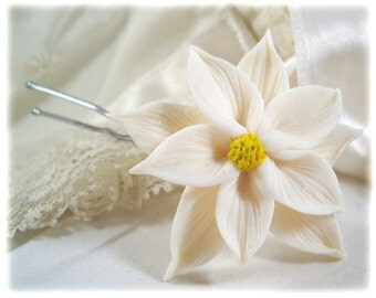 White Poinsettia Hair Clip Pin - Winter Wedding Hair Accessories