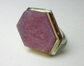 Raw Ruby Ring, Crystal Slice, Sterling Silver Ring, 18 K Bezel