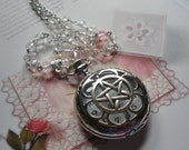 SOLD TO JULIE Wicca Clear Crystal Glass Silver Pentagram Pocket Watch Necklace