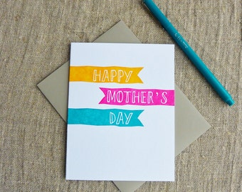 Letterpress Greeting Card - Mother's Day Card - Cheerful Banners 303-103