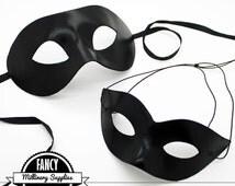 Black Satin - Couple's Mask Set -  Masquerade Masks - Prom Masks - Party Masks - Men's