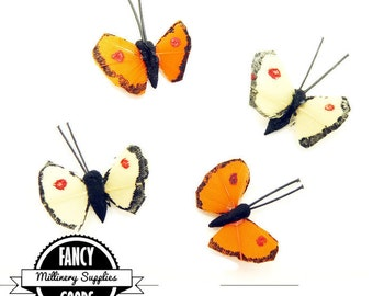 Set of 4 - Extra Small - Butterflies - Fake - Artificial - Painted Feathers - Millinery - Bridal - 1/2 Inch