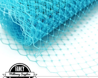 Turquoise Veiling - Netting - Russian / French - Birdcage Veil Netting - Millinery - Hats - 1 Yard