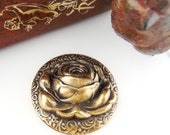 FLOWER - Large Raised Rose Antique Ox Brass Stampings - Jewelry Ornament Findings (FB-6015) #