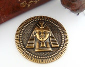 CLOSEOUT SALE Antique Brass Round Embossed Egyptian Motif King Tut Stampings ~ Jewelry Ornament Findings (FC-19)