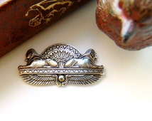 SILVER Egyptian Spinx Silver Ox Brass Stampings - Jewelry Ornament Findings (C-505) #