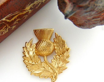 BRASS (2 Pieces) Scottish THISTLE Flower Stamping - Jewelry Findings Thistle Stamping (FB-6106) #