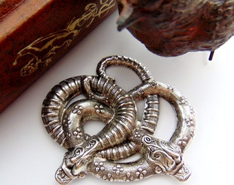 SILVER SNAKES Entwined Garden Snake Stamping - Jewelry Antique Silver Findings (FB-6085) #