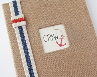 Baby Memory Book, Nautical, Burlap, Anchor, Sailboat