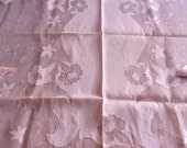 Vintage 1940's Pink Floral Organza Hand Embroidered Appliqued Long Table Cloth With 8 Napkins, Tea, Wedding