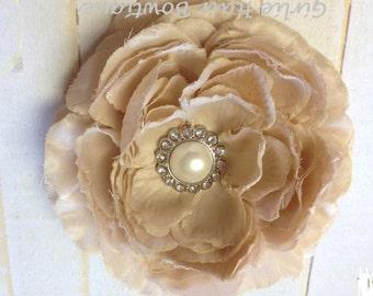"Taupe Flower Clip Khaki Flower Clip Beige Flower Clip Ruffle Ranunculus 4.5"" Pearl and Rhinestone Clip Wedding Bridesmaid Flower Girl Prom"