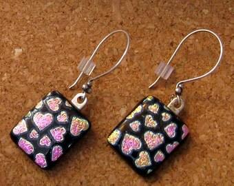 Dichroic Earrings - Heart Earrings - Fused Glass Earrings - Fused Glass Jewelry - Valentine Jewelry