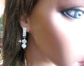 Swarovski Pearl and Rhinestone Bridal Earrings - Bride or Bridesmaid Earrings - Wedding Earrings