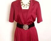 25% OFF Vintage pleated Burgundy dress