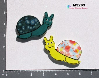 2 Snails  -Kiln Fired Handmade Mosaic Tiles for your Mosaic Projects   M3263
