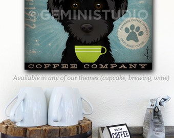 Havanese Coffee Company dog illustration graphic artwork on gallery wrapped canvas by stephen Fowler