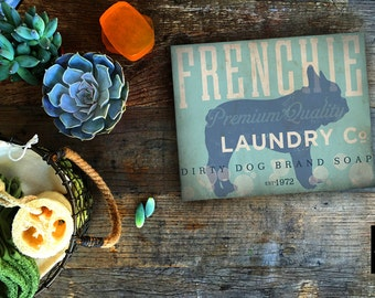 Frenchie French Bulldog dog Laundry Company illustration graphic art on canvas panel  by stephen fowler Pick A Size