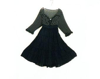 Upcycled Dress - Handmade, One of a Kind, Full Skirt, Baby Doll Dress, Super Cute, Sheer Top, Ruffled Skirt, Black Polka Dot Dress, Revamp