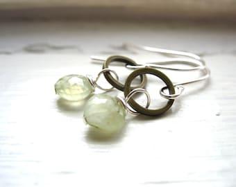 Prehnite, Prehnite Earrings, Prehnite Brass Hoop Earrings, Drop Earrings, Prehnite Jewelry, Hoop Earrings, Gemstone Jewelry