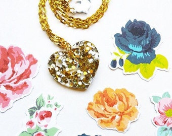 CONFETTI glitter heart laser cut necklace ( gold chain only)