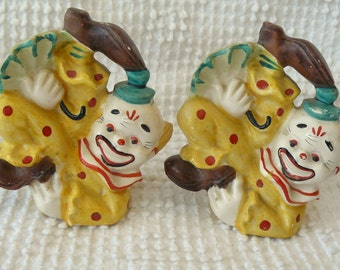 Set of 2 Vintage Clown Salt and Pepper Shakers / Figurines  -  In tumbling positions holding umbrellas - Unique and so cute