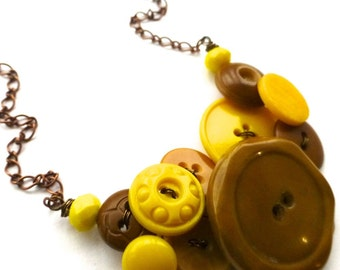 Chunky Honey and Yellow Vintage Button Statement Necklace