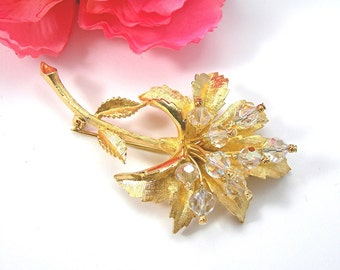 """Golden Flower Brooch with Crystals - Vintage 1970-80sCostume Jewelry - Large 3"""" Pin - Goldtone Metal"""