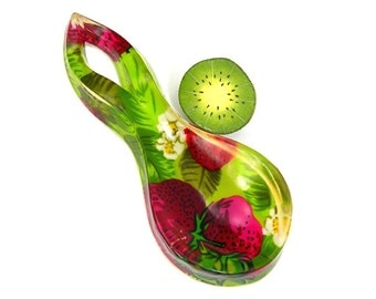 Strawberries Spoon Holder, Poured Acrylic Resin, Red / Green, Vintage c1970s Retro Kitchen Ware,  Wall Hanging, Collectible