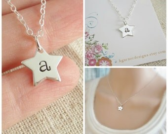 Star initial necklace Silver star necklace Personalized gift for Mom jewelry Mothers necklace Childrens initials Gift for grandma necklace