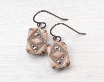 Vintage blush pink earrings bridal glass marcasite look molded glass 1920's art deco style jewel great gatsby wedding
