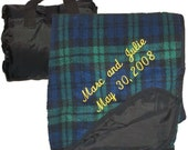 Travel Fold Up Picnic Blanket Black Watch Plaid Embroidered and Personalized